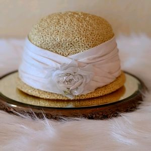 Vtg Jan Leslie Straw Lace Yellow Millinary Hat